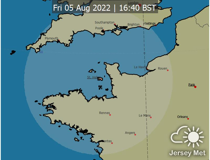 Picture of rainfall radar from Jersey Met Office